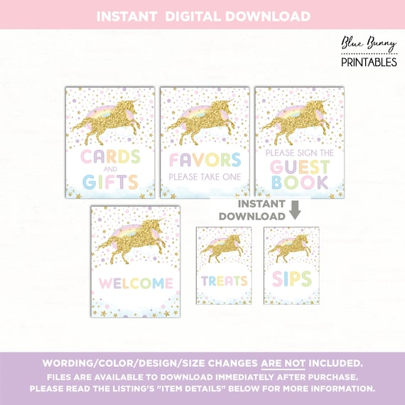 Rainbow Unicorn Birthday Table Signs  6 Signs  Pink Gold