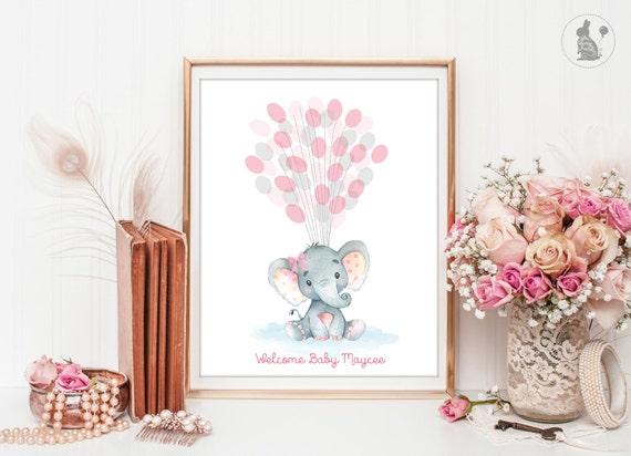 Girl Elephant Guest Book Printable Alternative Bridal Birthday Pink  Rose-ao144BP27 Girl Elephant  Baby Shower