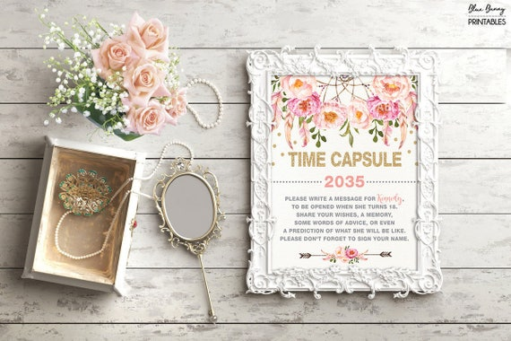 Boho TIME CAPSULE Floral Baby Shower Table Sign Decoration Girls