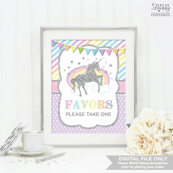 Silver Unicorn Printable Favors Sign Unicorn Baby Shower