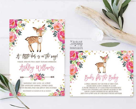 Deer Baby Shower Invitation Girl Woodland Baby Shower Etsy