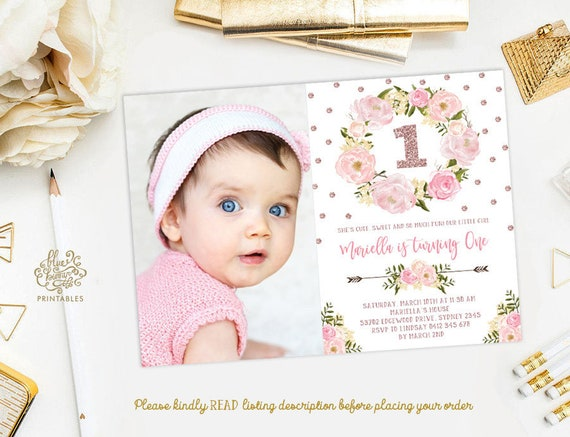 first birthday invitation pink and gold 1st birthday girl printable invitations blush pink gold glitter one chic customized invitation