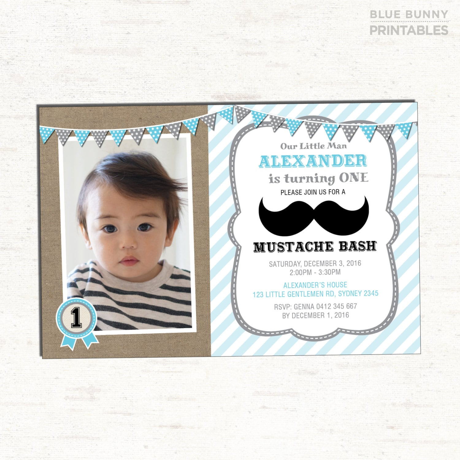 Mustache Birthday Invitation. Blue and Grey Little Man Party | Etsy