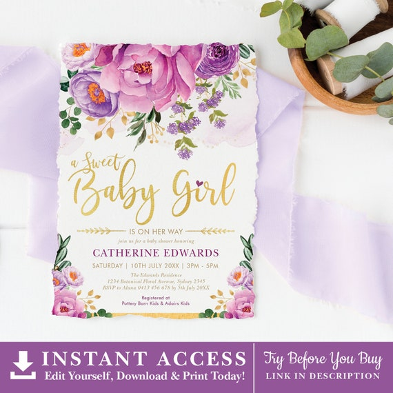 Boho Baby Shower Thank You Bohemian Baby Shower Invitation Set Diaper Raffle Purple Pink Blue Editable Corjl Template 419 Books For Baby