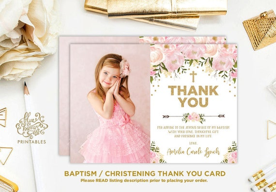 Blush Pink Floral Baptism Thank You Card Pink And Gold Christening