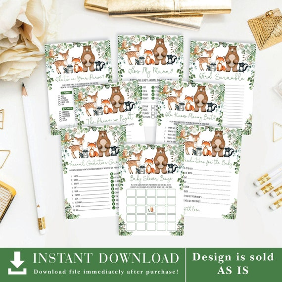 Greenery Woodland Baby Shower GAMES PACKAGE. 8x Forest Animals