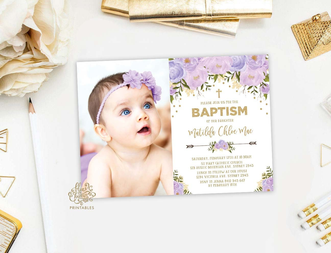 Floral Baptism Invitation. Purple and Gold Christening Invite. | Etsy
