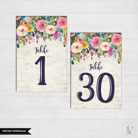 Wedding Table Numbers Floral 4 X6 Table Number Signs 1 30