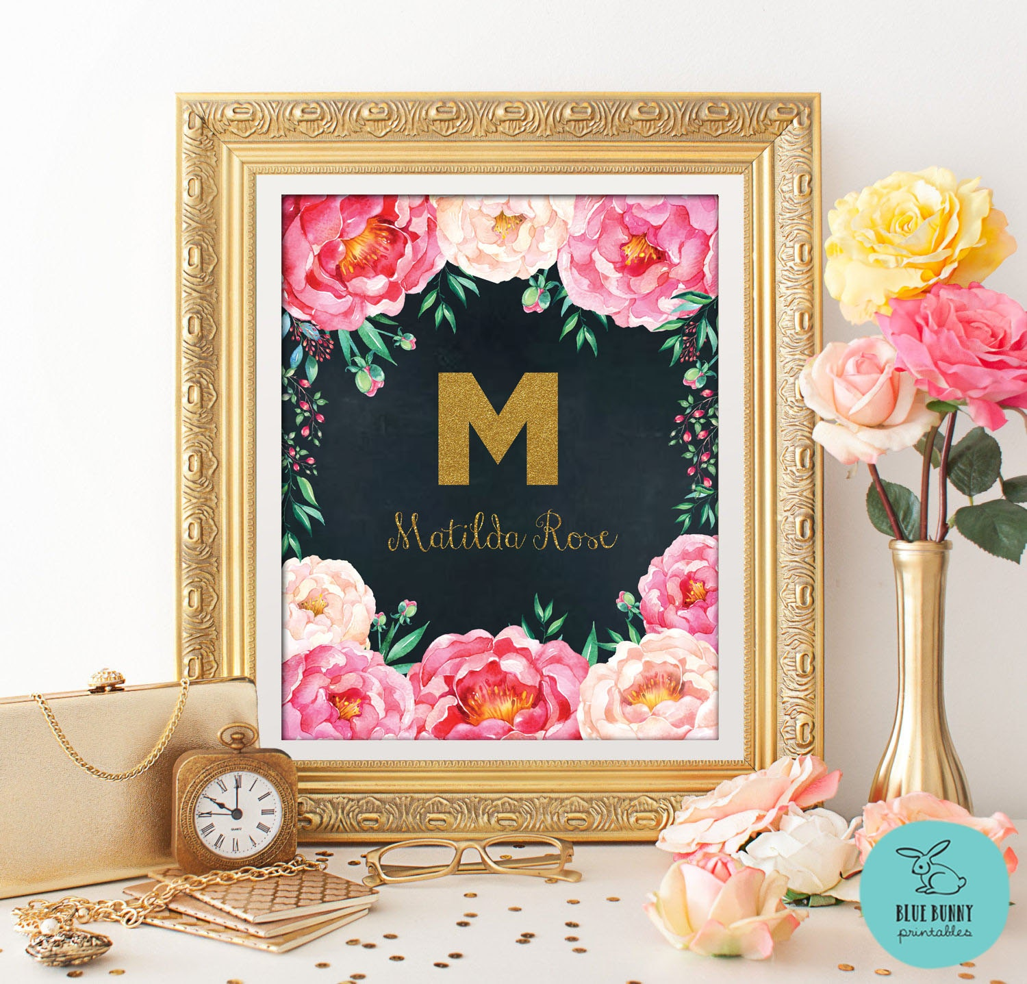 Gold Nursery Letters: GOLD MONOGRAM Nursery Art. Monogram Wall Decor. Nursery