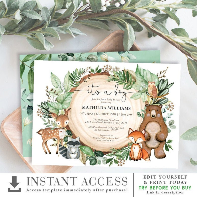 Boy Woodland Baby Shower Invitation. Forest Animals Watercolor image 0