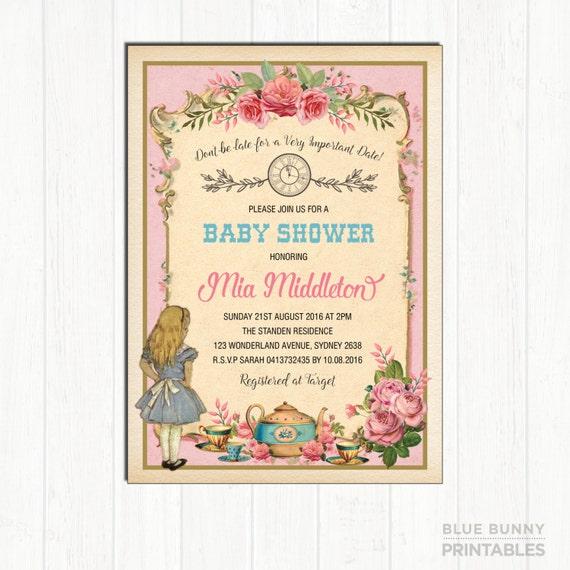 Alice In Wonderland Baby Shower Invitation Pink Vintage Tea Party Invite Mad Hatter Floral High Tea Sip And See Girl Shower Roses Al3