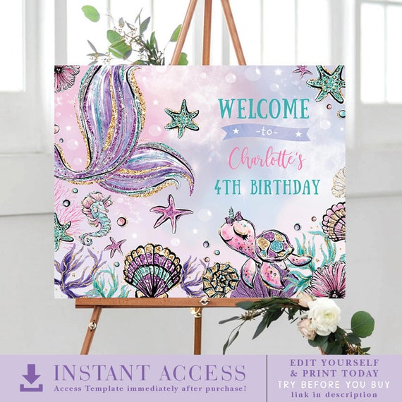 5th Birthday Printable Pool Party Birthday Sign 2nd 1st Pink Mermaid Welcome Sign Under the Sea Decor 3rd 1073 4th