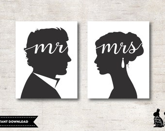 MR & MRS Wall Art Printables. Wedding Sign. Bride and Groom Sign. His and Hers. Anniversary Gift. Gift for Newlyweds. Modern Romantic Decor