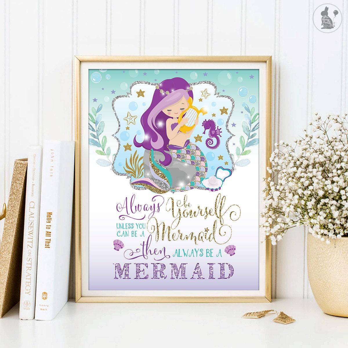 Mermaid Nirsery Accent Wall: Mermaid Wall Art. Always Be A Mermaid. Ocean Sea Nursery