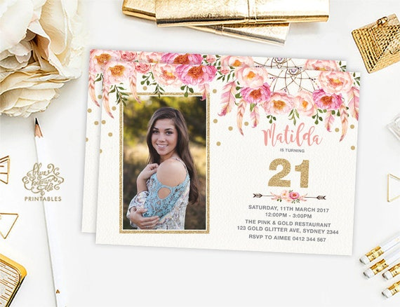21st Birthday Invitation Floral Boho Party Pink And Gold Bohemian Flowers Teens Girly Feathers Glitter FLO12A