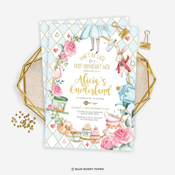 EDITABLE Printable Instant Download AL1 Mad Tea Party Alice in Wonderland Invitation Template Alice in Onederland 1st Birthday Invite