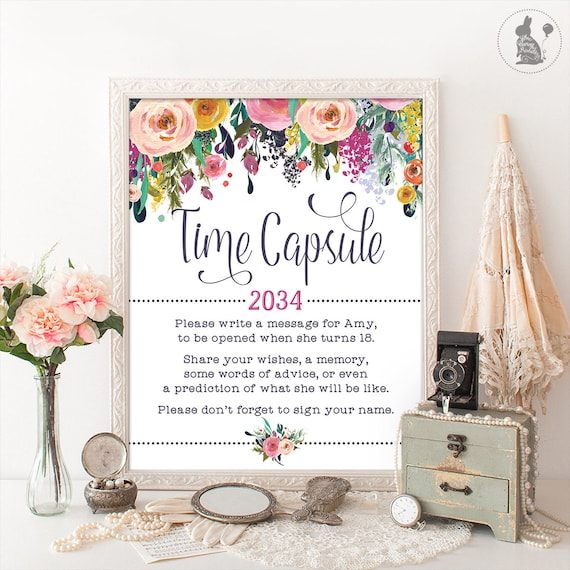 Time Capsule Floral Baby Shower Table Sign Decoration Girls First
