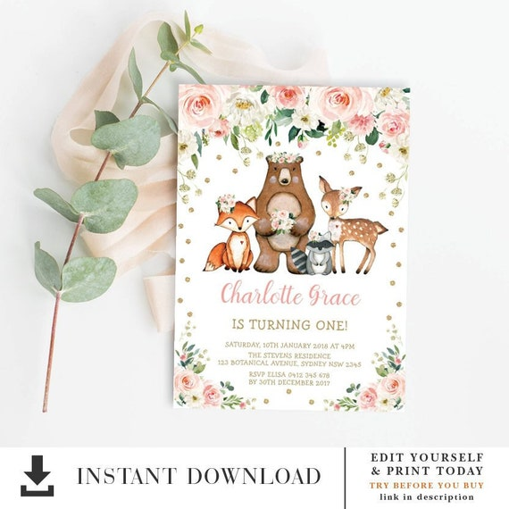 photo about Free Printable Woodland Animal Templates titled Female Birthday Invitation Template / Woodland Pets Blush