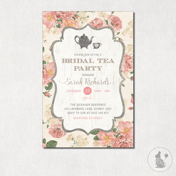 bridal tea party invitation vintage flowers bridal shower invite