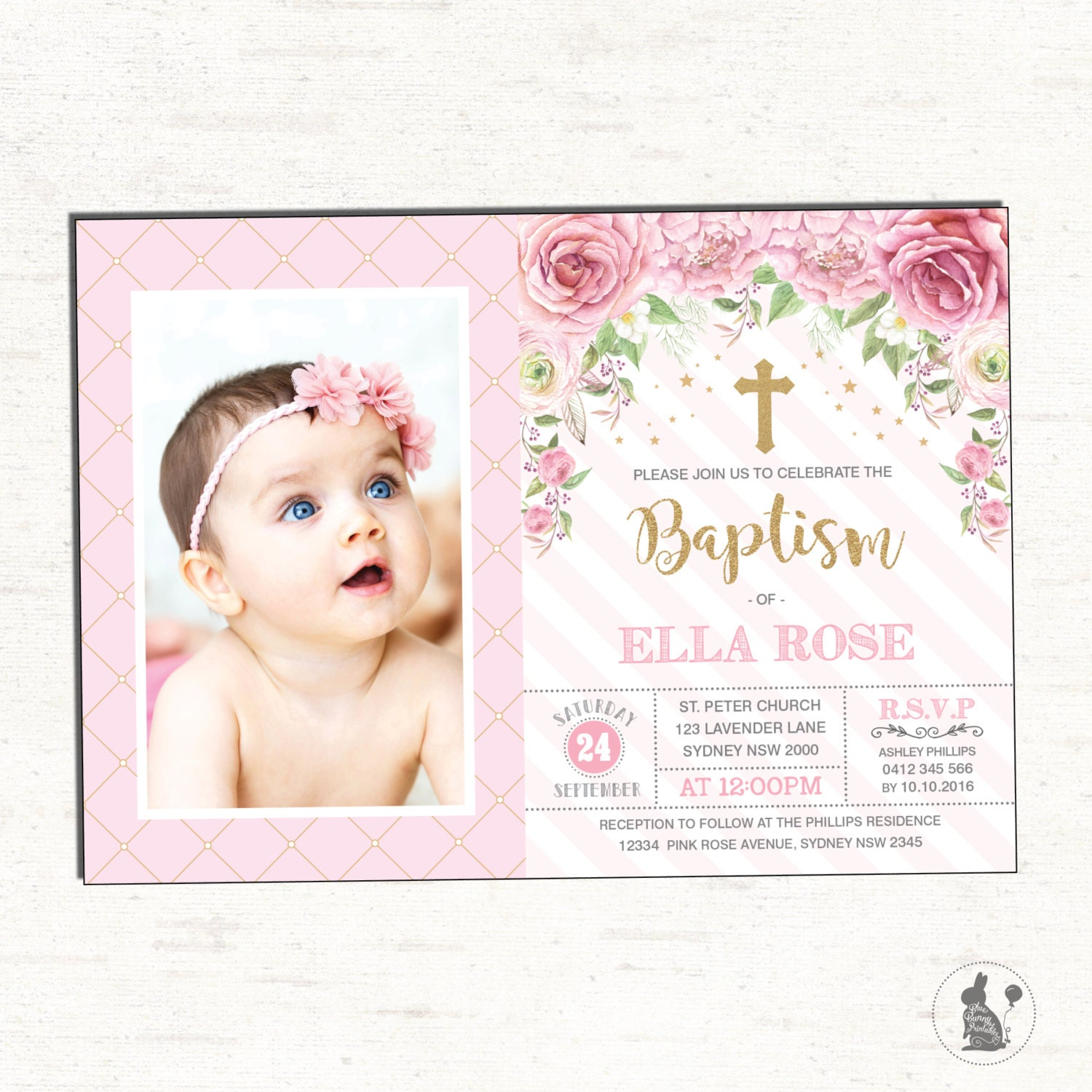 Girl Baptism Invitation. Pink Gold Christening Printable | Etsy