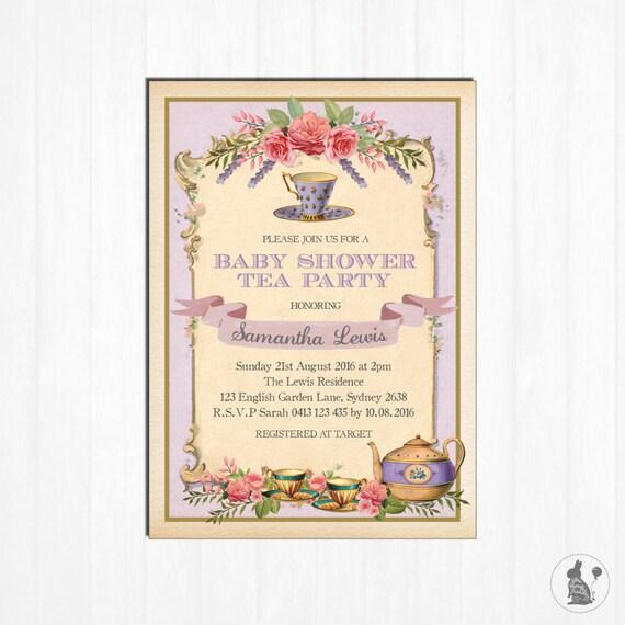 Baby Shower Tea Invitation Vintage High Tea Party Invite