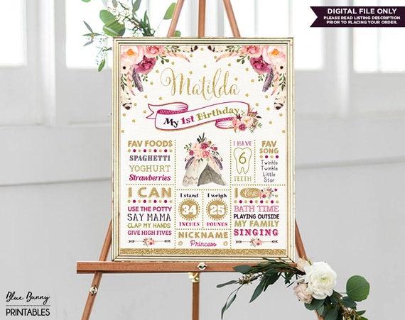 Digital Fall Floral Baby/'s Milestones Chalkboard Board Boho Wildflowers First Birthday Chalkboard Poster Tribal Wild One Birthday Theme