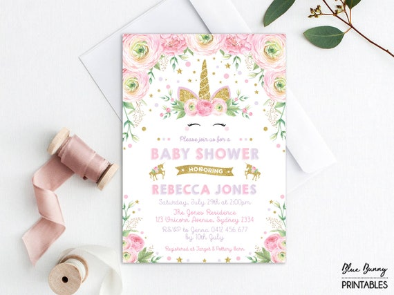 Unicorn baby shower invitation pink purple gold floral etsy image 0 filmwisefo