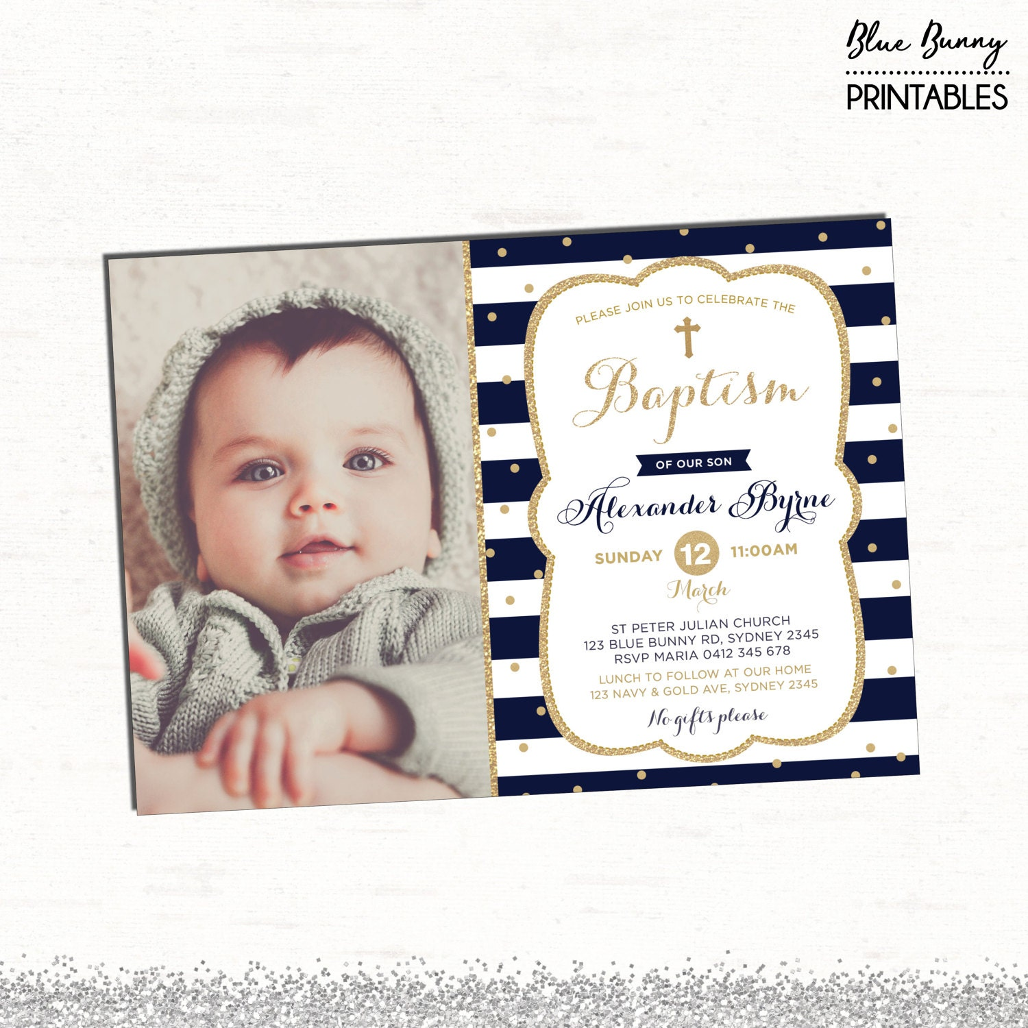 Navy and Gold Baptism Invitation. Glitter Boy Christening | Etsy
