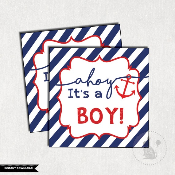 5a7ad55f54c1e NAUTICAL Favor Tags. Nautical Baby Shower. Anchor Baby Shower Favors. Ahoy  It's a Boy. Nautical Thank You Tags. Navy and Red Gift Tags. NAU1