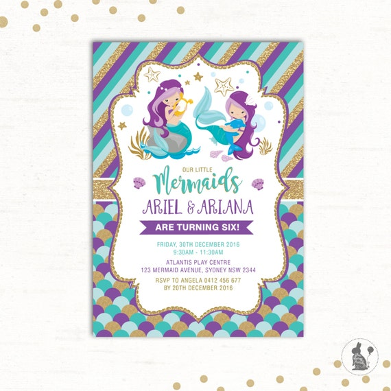 Mermaid Invitation Twins Birthday First Joint Party Little Sisters Purple Teal Gold Pool Glitter MER2