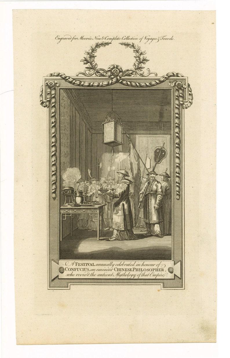 Festival in Honor of Confucius 1778 Antique Engraving