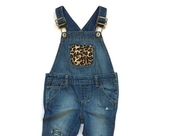Infant Distressed Leopard Overalls (18-24 mos.)   custom denim   baby denim   baby overalls   kids denim