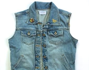 Women's Rock N Roll Studded Denim Vest (medium) | custom denim | vintage denim | Motley Crue