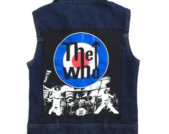 Women's THE WHO Denim Vest (medium) | custom denim | rock n roll | vintage | the who band | women's denim | jean vest