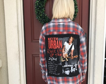 Custom Keith Urban Flannel (L) | one of a kind | country flannel | womens flannel