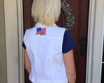 Women's White Denim Vest with American Flag Patch (medium) | custom denim | women's denim | USA | jean vest