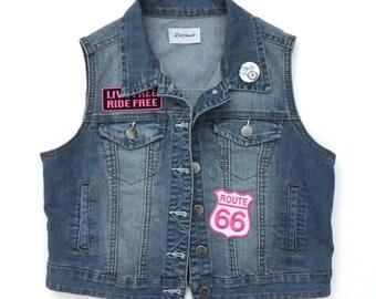 Women's Denim Vest with Patches (medium) | custom denim | biker babe | route 66 | motorcycle vest | live free ride free | jean vest
