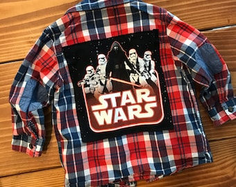 Toddler Star Wars Button Up (2T) | kids plaid button up | custom shirt | one of a kind