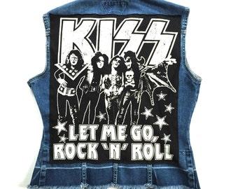 Women's KISS Denim Vest (medium) | custom denim | womens denim vest | vintage | let me go rock n roll | jean vest