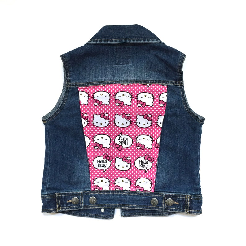 b786153f9 Girls' Hello Kitty Denim Vest 7/8 custom denim girls | Etsy