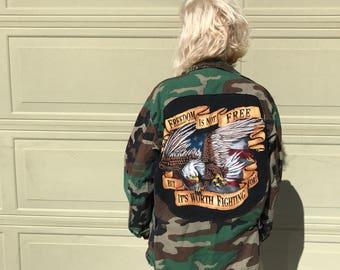 Custom Made Camo Jacket (M/L) | army jacket | America | one of a kind | unisex