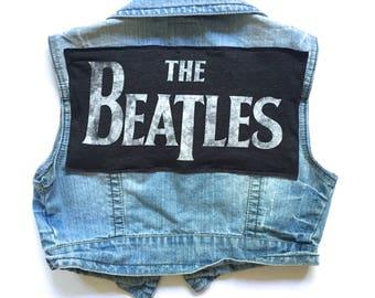 Women's THE BEATLES Cropped Denim Vest | custom denim | The Beatles | womens denim | jean vest | size M