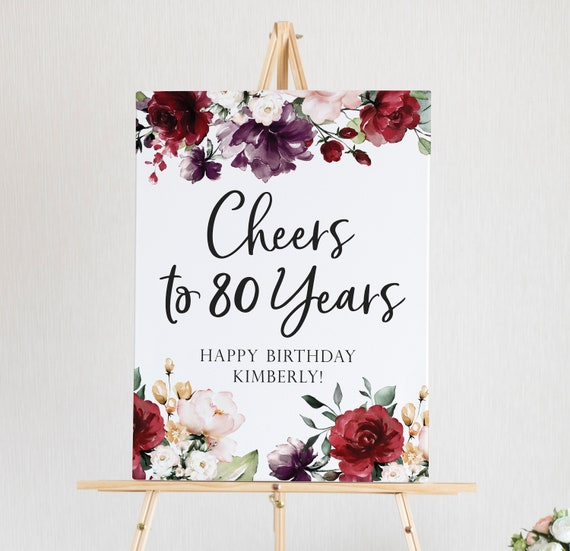 80th Birthday Decorations Cheers To 80 Years Printable Sign