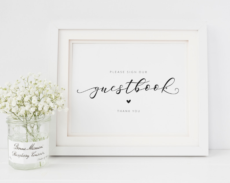 Please Sign Simple Black and White Wedding Signage Guest Book Table Sign Please Sign Our Guestbook Sign Wedding Guestbook Sign