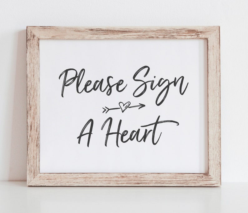 Heart Guest Book Frame Sign Heart Guest Book Printable Sign Please Sign a Heart Sign Wedding Signature Heart Tree Guest Book Sign