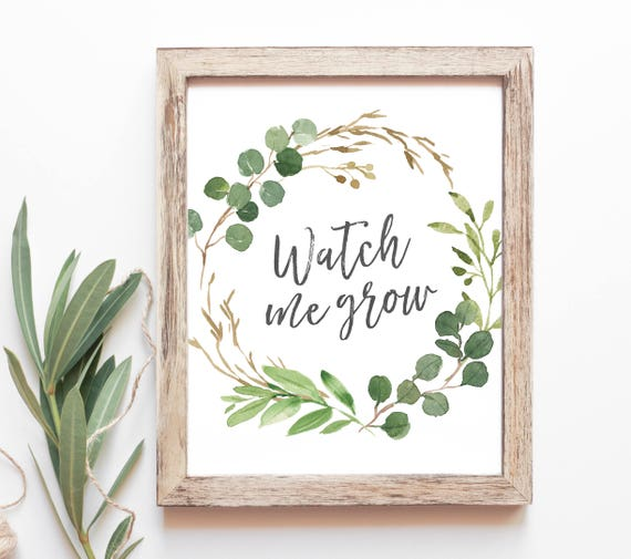 Watch Me Grow Baby Shower Favor Sign Plant Favors Baby Etsy