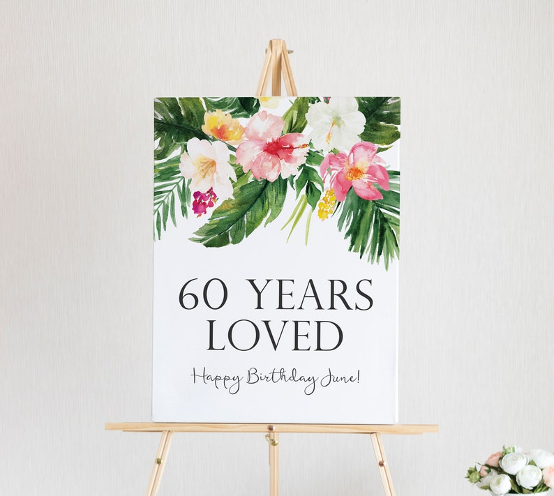 60 Years Loved Sign 60th Birthday Decorations Custom