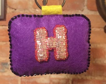 Handmade Letter 'H' Key-Chain Stitched in Felt