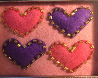 Handmade Framed Hearts Stitched in Felt