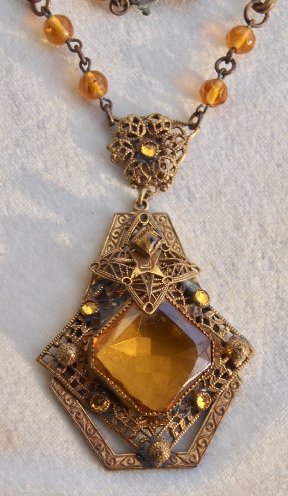 1930's Czech  Amber Glass And Brass Necklace - image 3